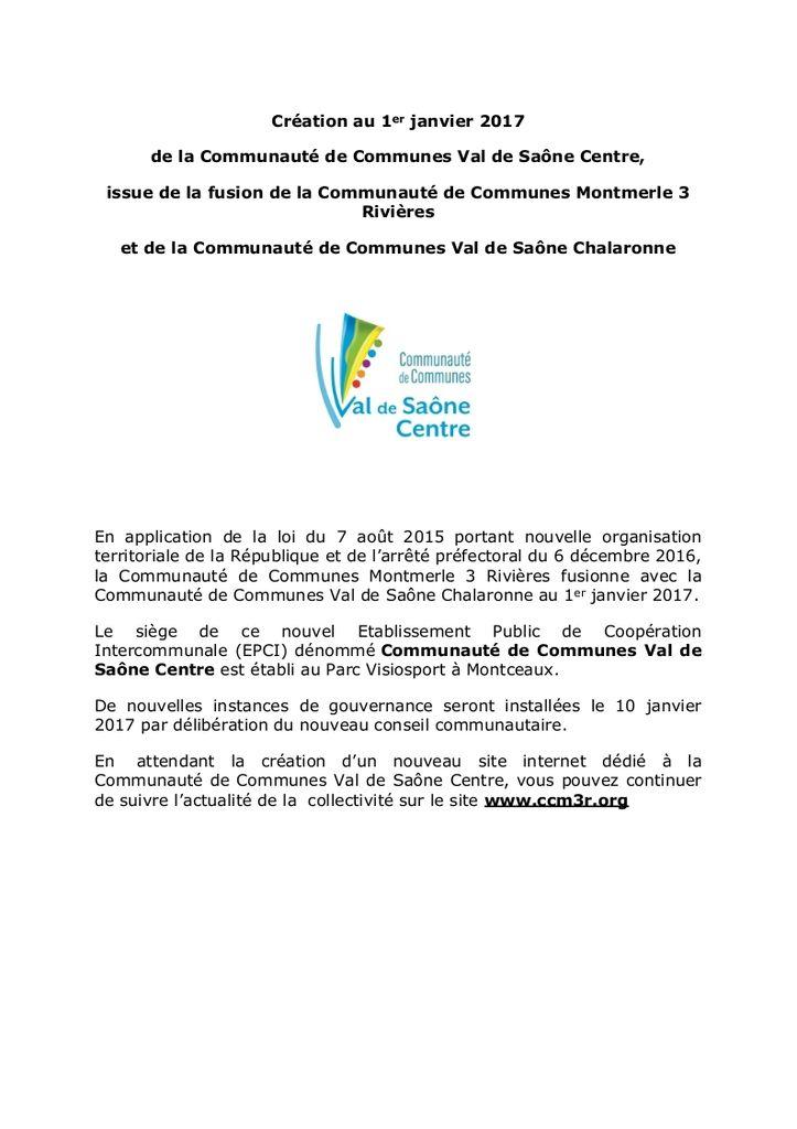 La communauté de communes Val de Saône Centre est née