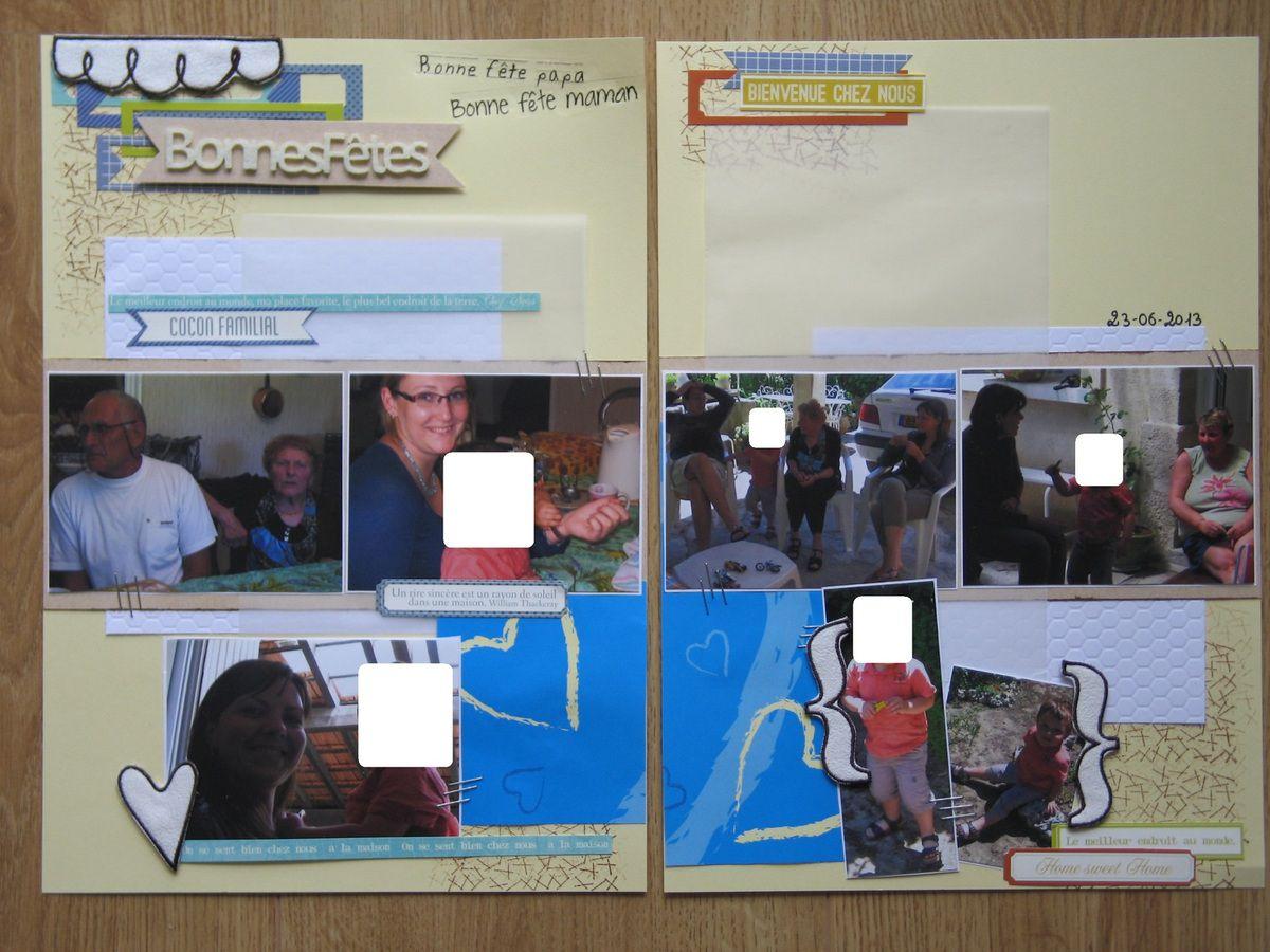 Scrap en double page, pour une double fête &quot&#x3B;Mère/Père&quot&#x3B;
