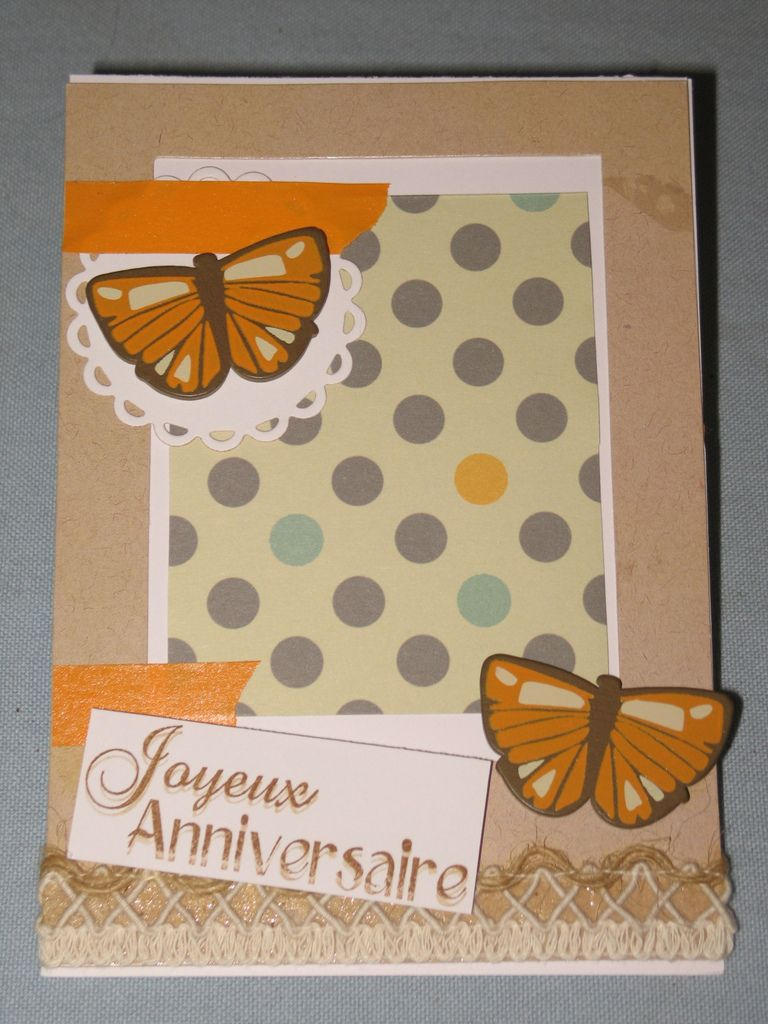 Scrap - Carte d'anniversaire : grise et orange