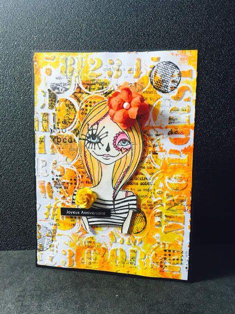Carte avec une poupette de l encre et l image en exclusivité pour Scrap'ain.