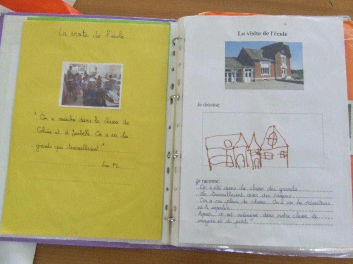 Exemples de pages dans mon cahier de vie: visite de l'école, les chenilles et un week end avec T'choupi...