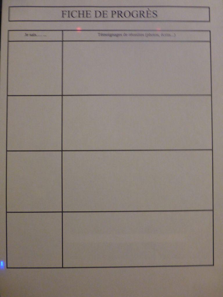 fiches de progrès: évaluation positive LA CLASSE DE PEPE