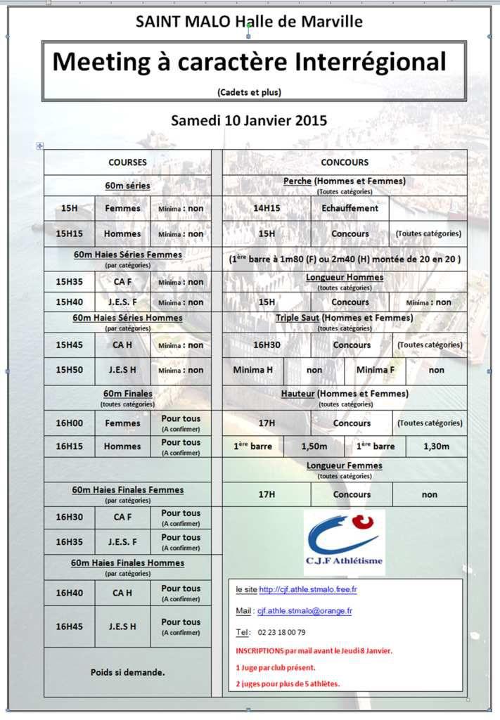 Programme meetings de St-Malo / 10 et 24 janvier