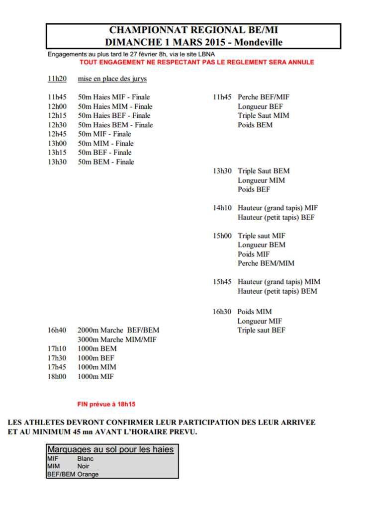 Championnat régional indoor BEN / MIN - 1er  mars Mondeville