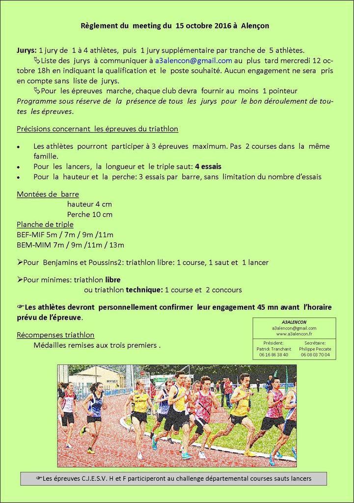 Triathlon et Epreuves Ouvertes /Alençon - samedi  15 octobre 2016