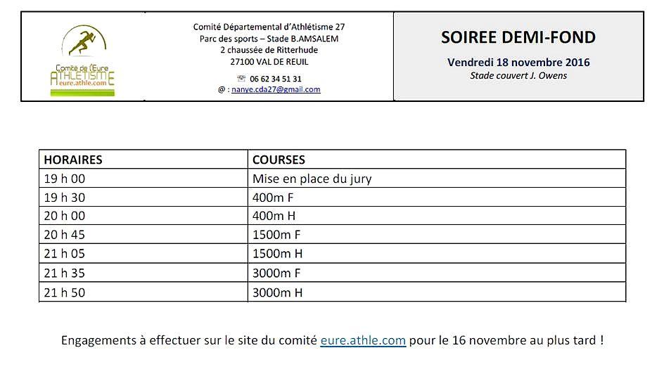 Soirées demi-fonds à Val-de-Reuil en novembre