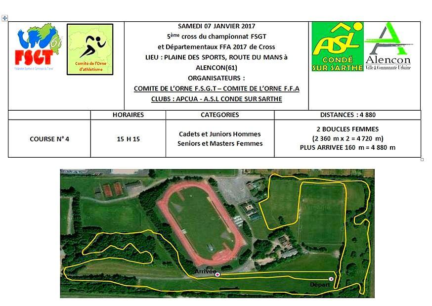 Championnats départementaux de cross-country / Alençon - samedi 7 janvier 2017