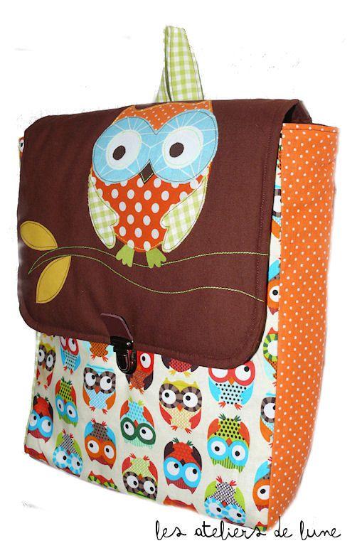 sac à dos pour la maternelle, la crèche : Décor HIBOU (beige)