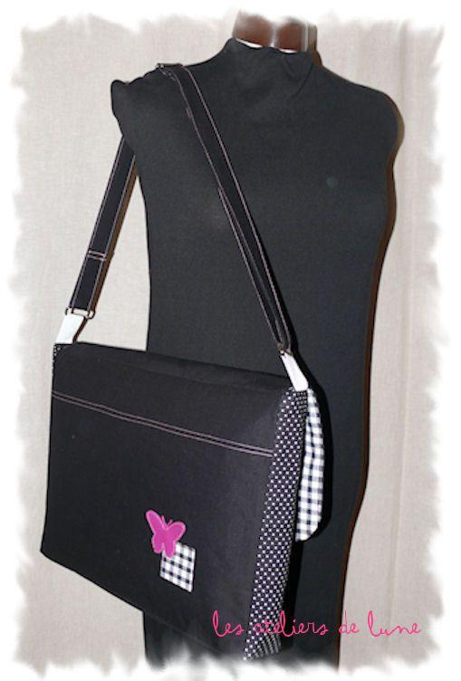 Grand sac Noir Blanc et sa touche de rose*