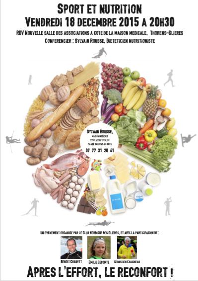 A vos agendas! Conférence sur la nutrition et le sport, le 18 décembre prochain, à Thorens-Glières
