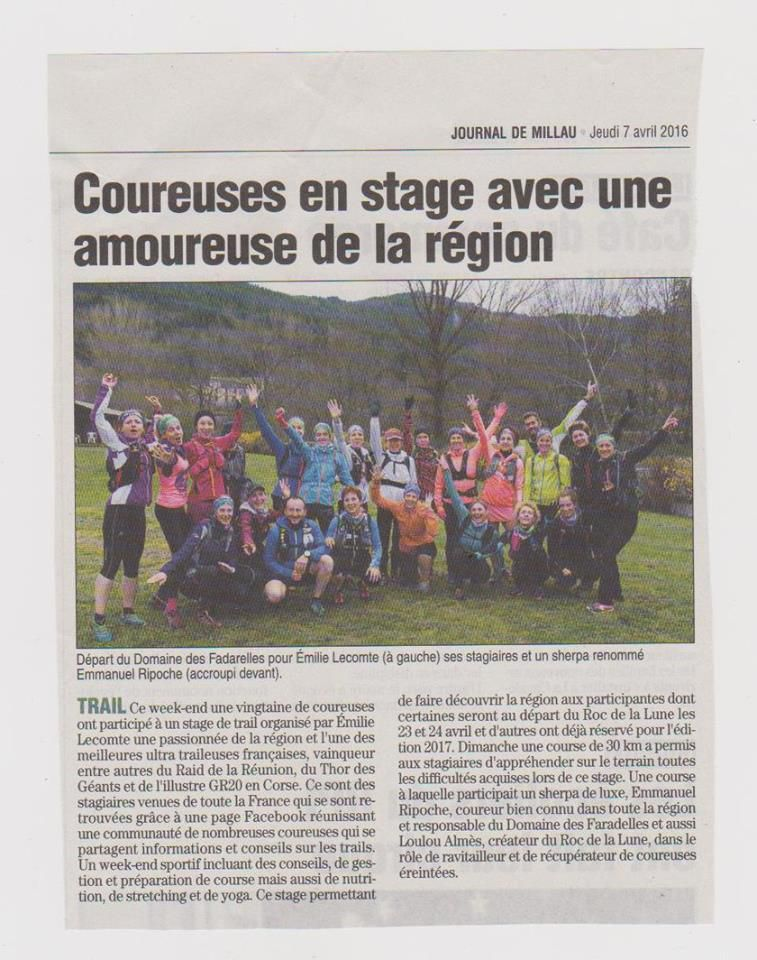 Article Midi-libre stage Tee en Aveyron - Avril 2016