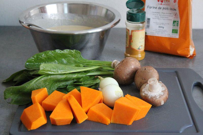 Buddha bowl et petites crêpes à la farine de pois chiche  sans gluten