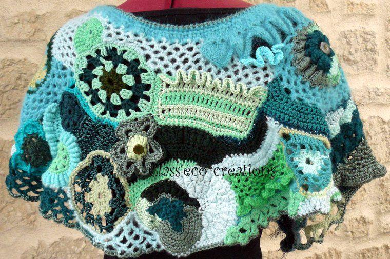 cache épaules en crochet freeform
