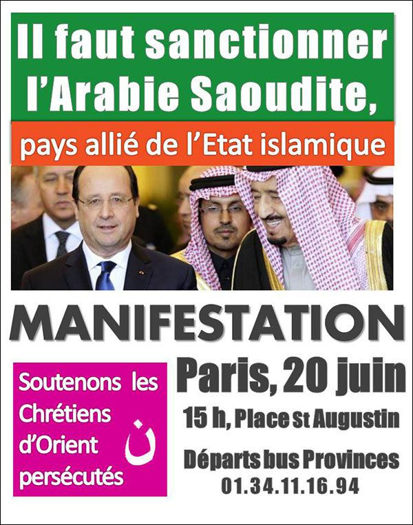 Samedi 20 juin 2015 : contre l'action de l'Arabie Saoudite