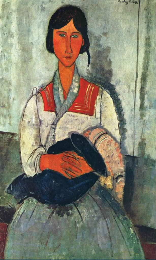Gipsy woman with a baby, Amedeo Modigliani, 1919,  Paris, huile 115.9 x 73 cm, National galery of art Washigton USA