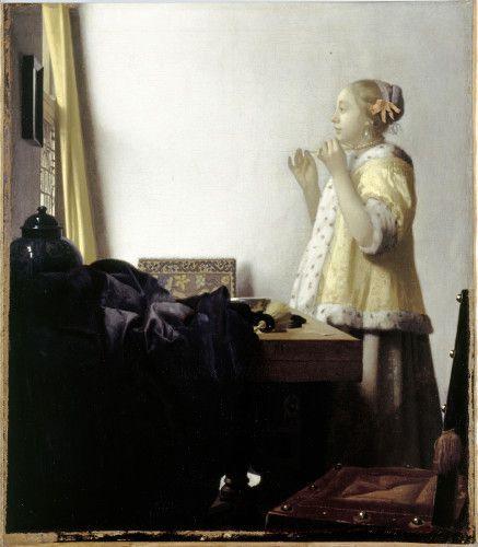 Johannes Vermeer, Jeune file au collier de perles, 1662-1665, huile sur toile 51,2 x 55,1 cm, Berlin