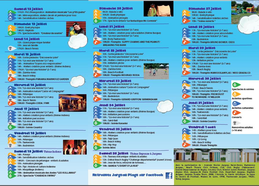 -  Festival JARGEAU-PLAGE programme du TREMPLIN 15 juillet au 1er août 2014