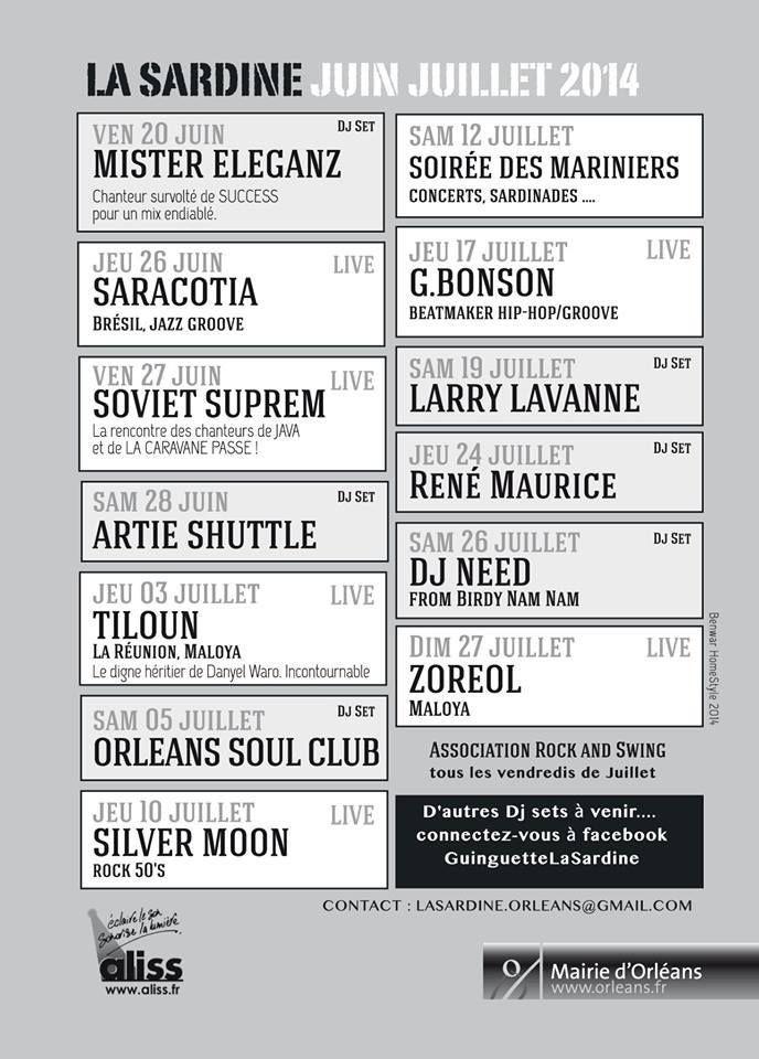 - GUINGUETTE LA SARDINE  à Orléans concert gratuit de SILVER MOON  reporté au 24 JUILLET