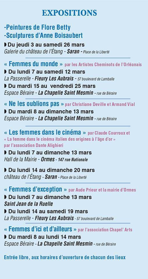 FESTIV'ELLES du 3 au 26 mars 2016 programme complet du Festival Intercommunal dans 6 villes de l'agglo orléanaise