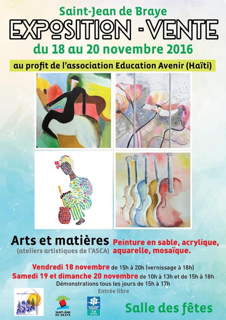 ARTS ET MATIÈRES: Exposition solidaire au profit d' EDUCATION AVENIR (Haïti) 18 au 20 novembre à St Jean de Braye