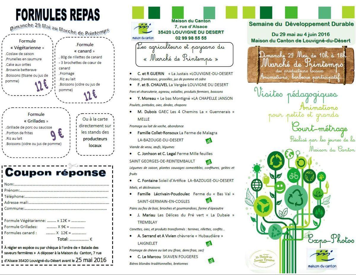Marché de Printemps le 29 Mai 2016 à Louvigné du Dt (35)