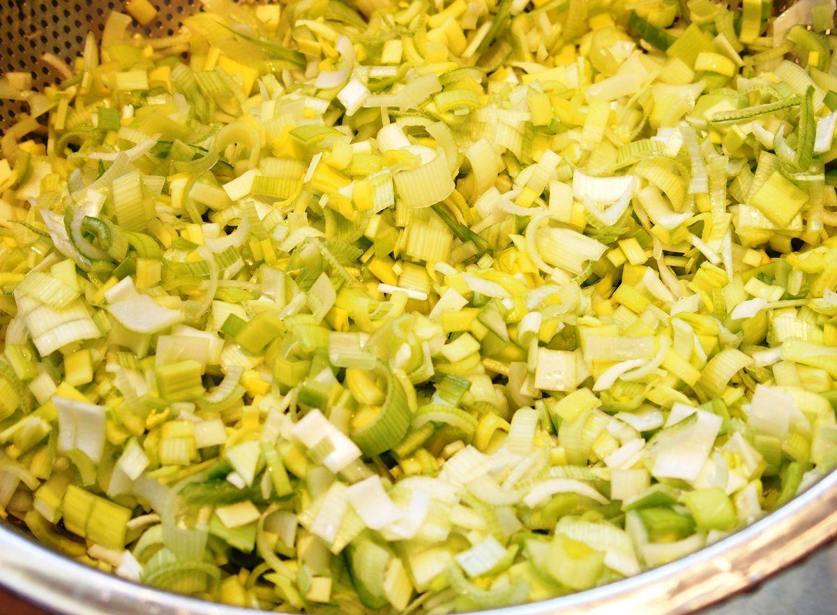 Crêpes - garniture aux poireaux, chorizo et fromage
