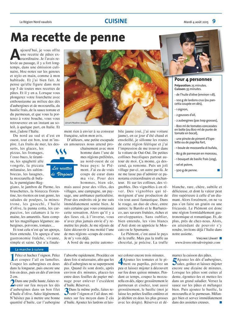 Ma chronique culinaire dans le journal