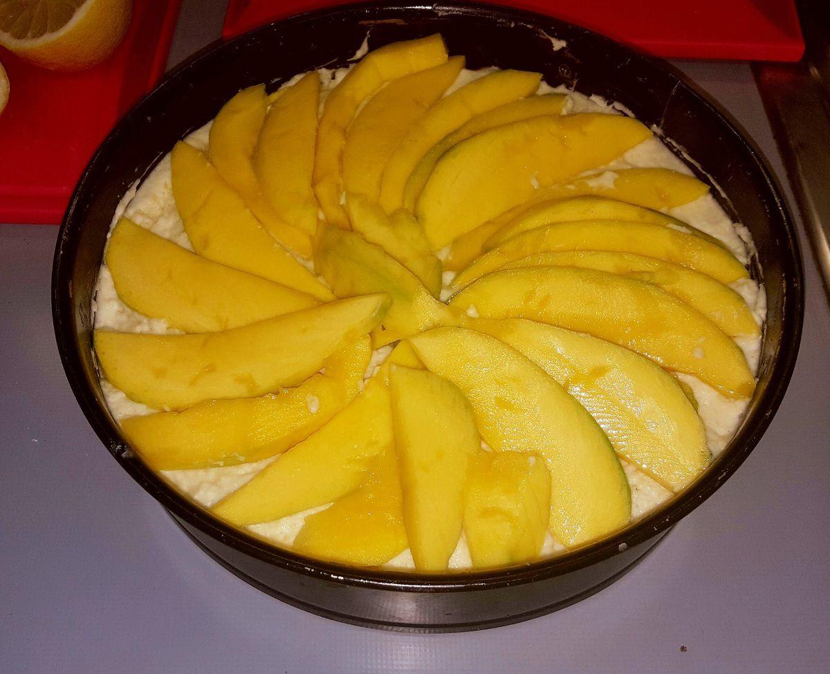 Gâteau gourmand à la mangue et noix de coco