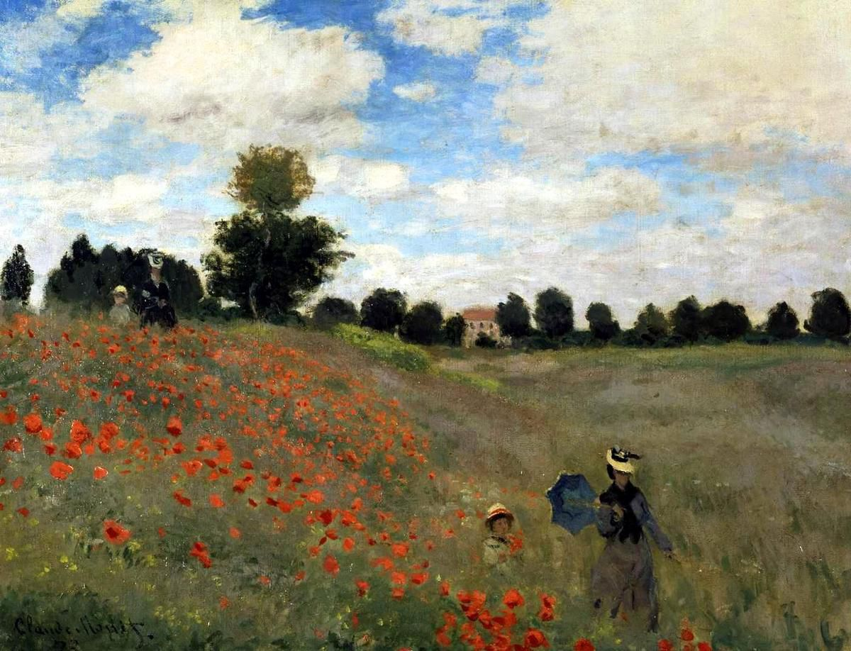 Empire Style by Percier et Fontaine 1812, Galerie Vivienne 1823, Monet les coquelicots (Poppies) 1873