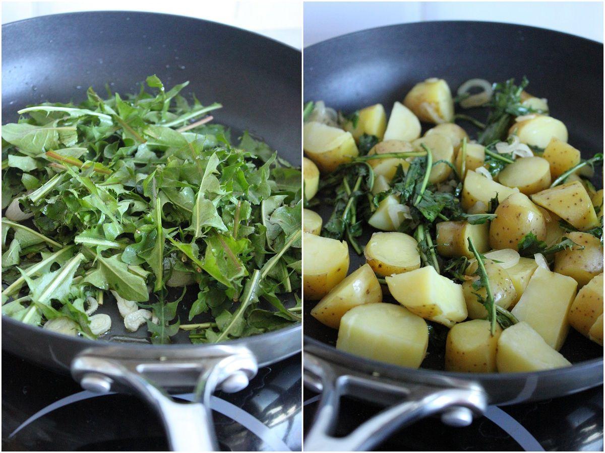 """Poêlée de pommes de terre """"ratte du Touquet"""" aux feuilles de pissenlit"""