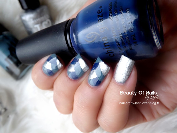 ♥ Braided Nails, Bleu &amp&#x3B; Argent.