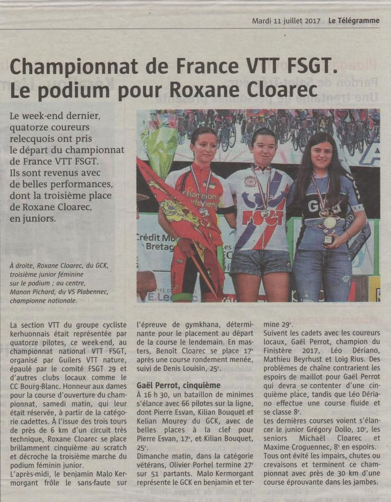 NATIONAL VTT FSGT 2017 A GUILERS : LA PRESSE