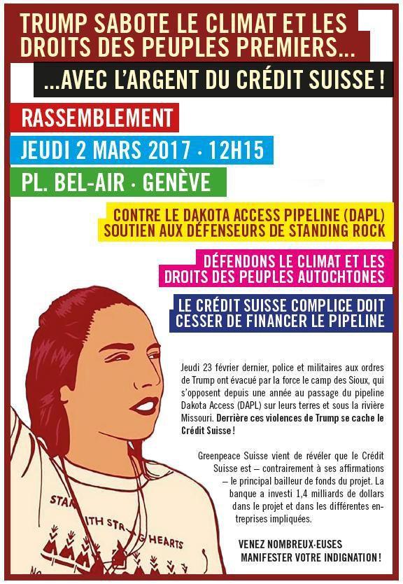 Rassemblement - Genève, Crédit Suisse complice du pipeline au Dakota