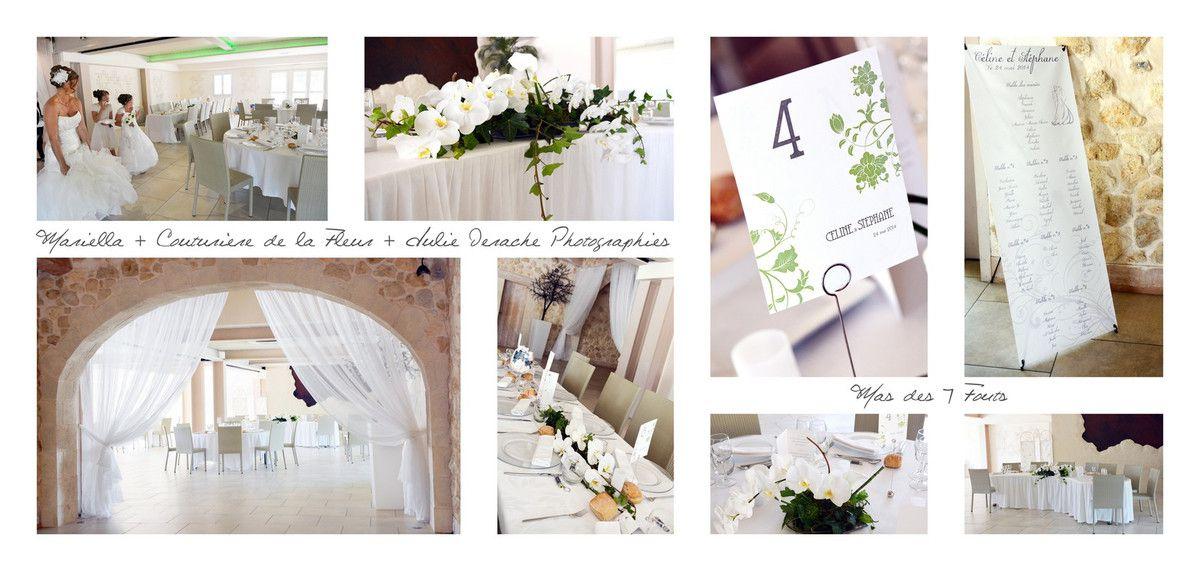 Salle de réception du Mas des 7 fonts décorée par Couturière de la Fleur