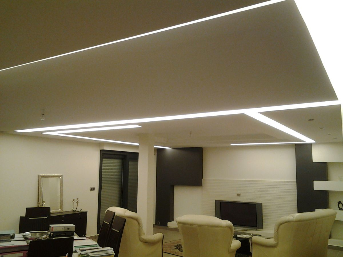 Plafond en staff avec int gration d 39 clairage led for Eclairage led interieur plafond