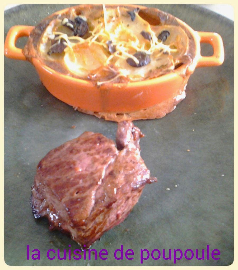 Faux filet de boeuf au gratin dauphinois de champignons