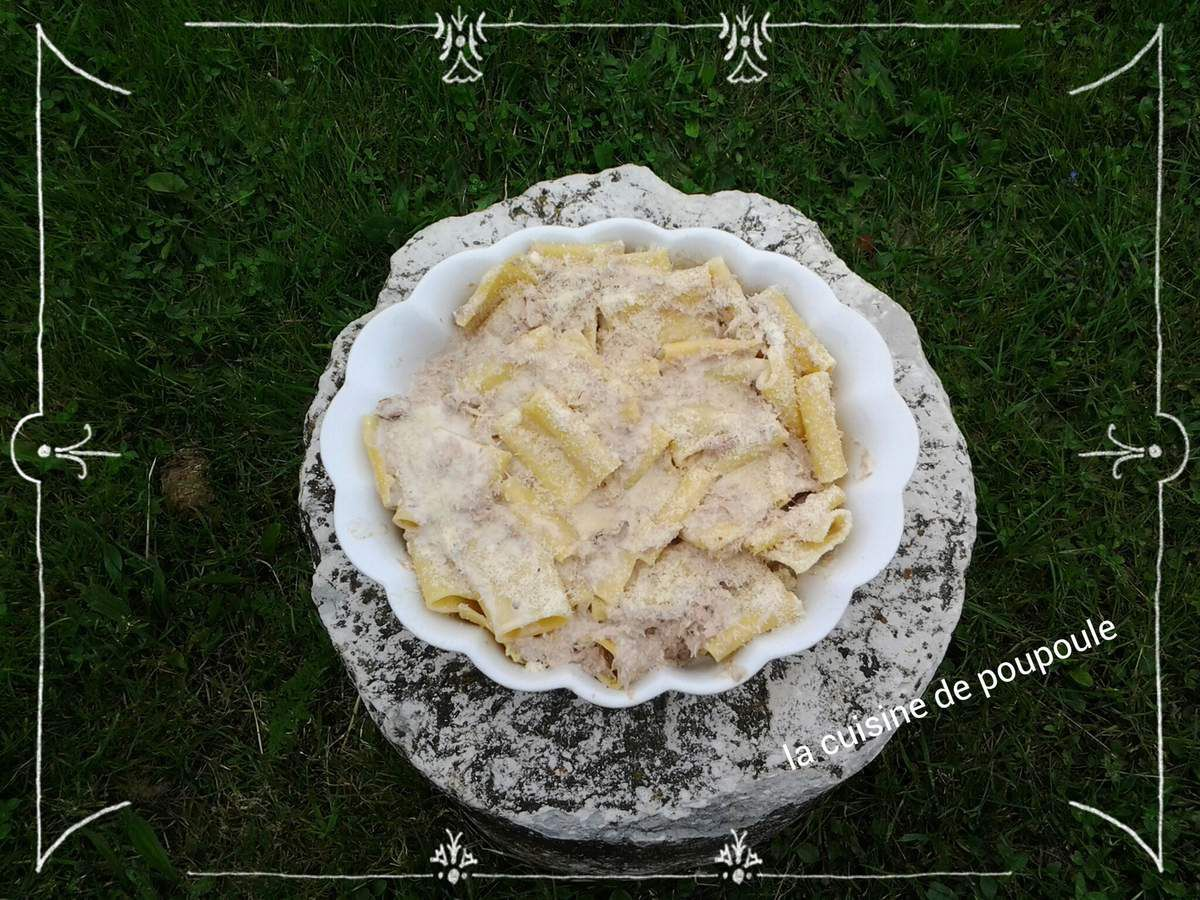 Gratin de Paccheri (pâte) au thon