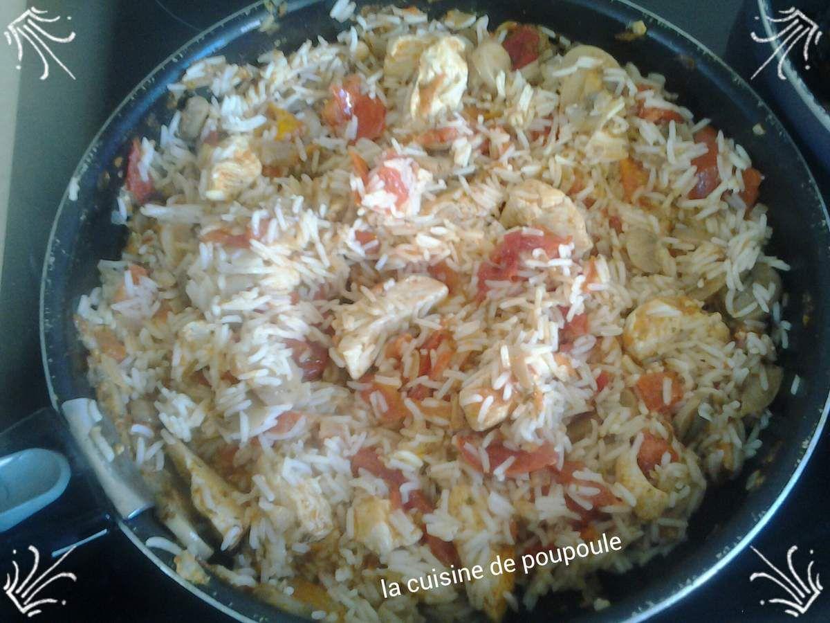 Poulet au riz, tomates et tandoori