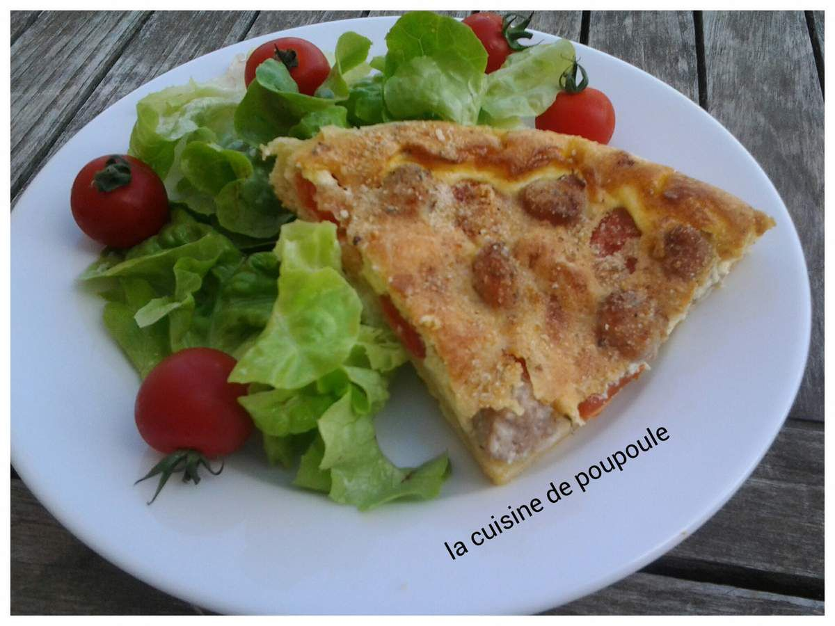 Tarte tomate cerise et chipolatas au thermomix ou sans