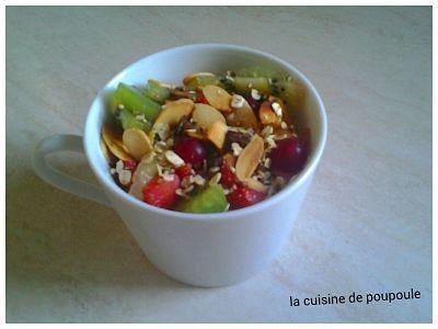 Fromage blanc au quinoa toasté, kiwi, fraise et groseille
