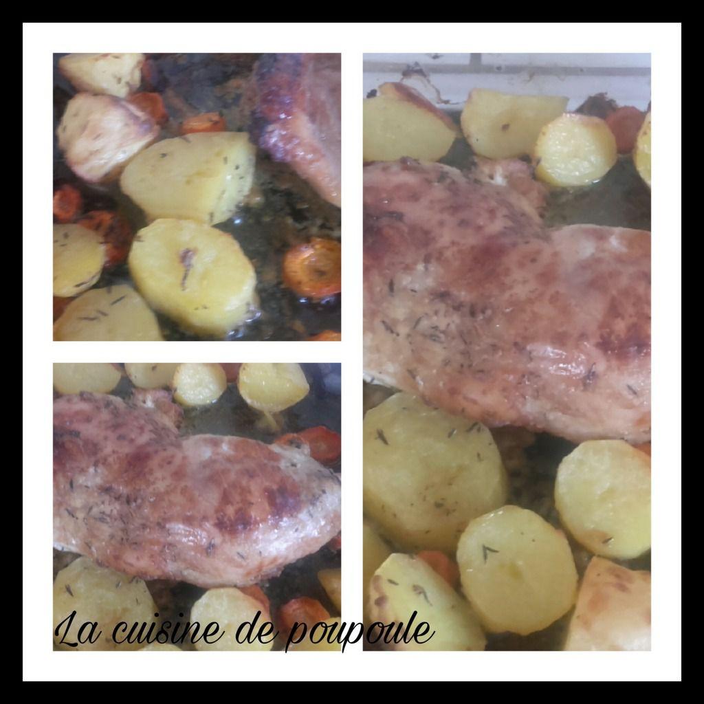 Cuisse de dinde aux petits légumes (pomme de terre carottes) à la moutarde