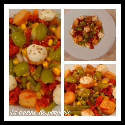 Salade haricots, mozza, olives verte, maïs, sésame et chorizo