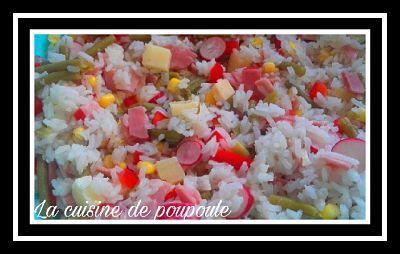 Salade de riz au radis rose, haricots, gruyère, oeufs, jambon et maïs