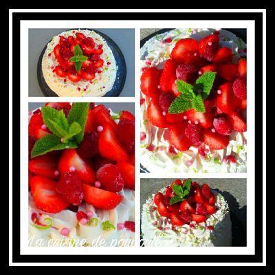 Angel cake aux fraises et framboises au thermomix ou sans