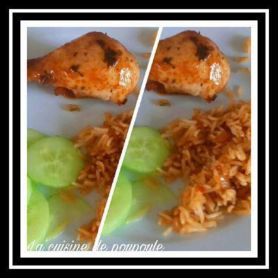 Le nassi avec poulet fricassé et concombre sucré (Guyane)