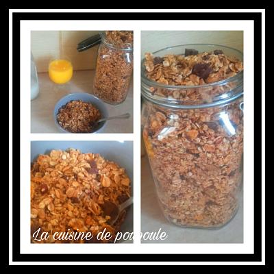 Granola à la noisette, pépites de chocolat et cannellle