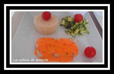 Dos de cabillaud sauce aux poivrons, courgette à la plancha