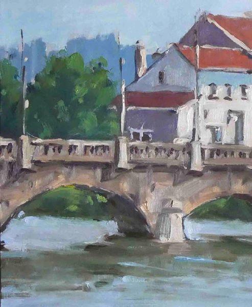 Pochade Pont de Tomblaine 3 (huile sur papier 27 x 22).