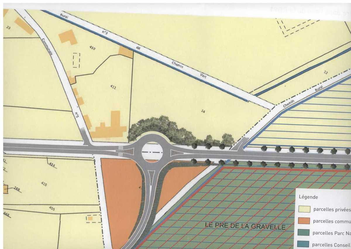 Projet de giratoire dans l'axe de la RD91, impact réduit en termes de paysage et d'environnement.