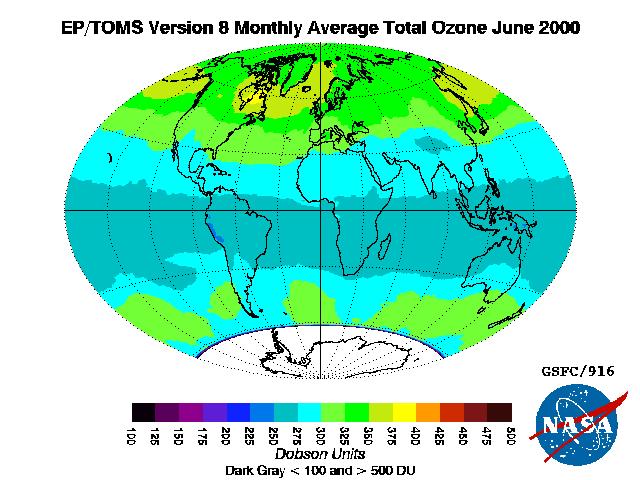 Weltweite Verteilung von Ozon Quelle: Wikimedia-Commons